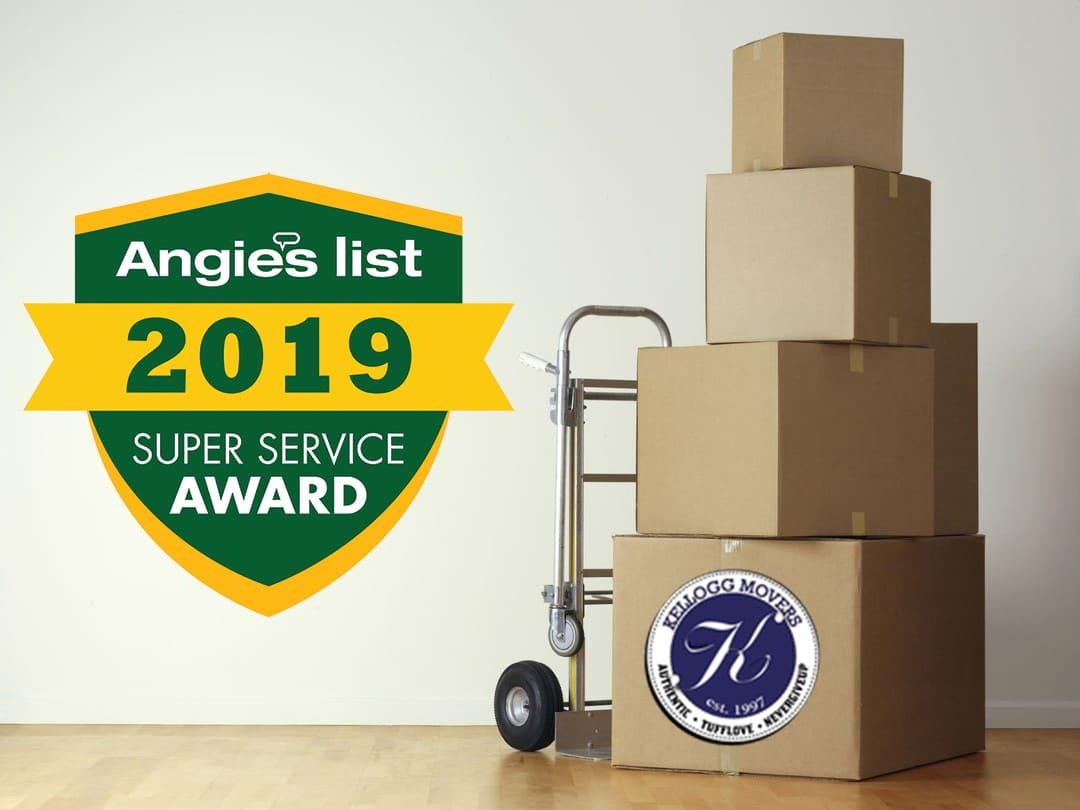 2019 Super Service Award, Angie's List, Angie, 2019 Award, Kellogg Movers, Moving Company, SLC, Utah