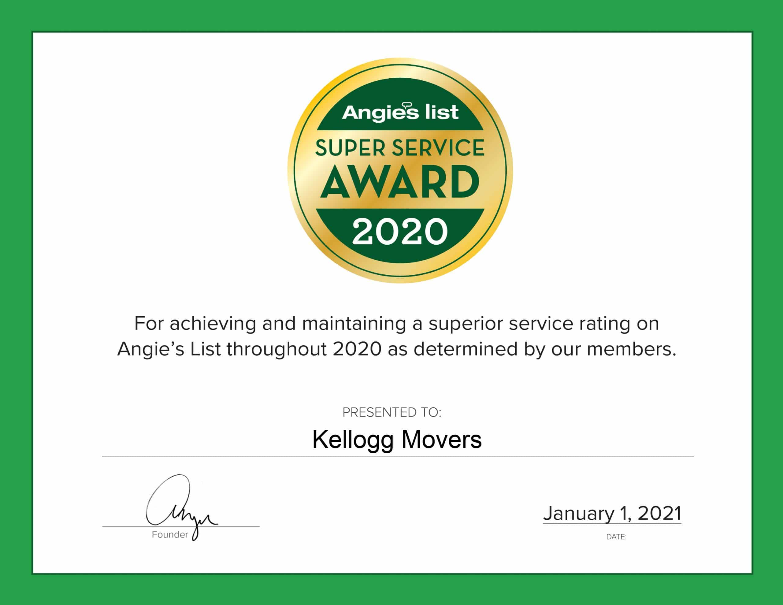 Angies list, Super Service Award, 2020,